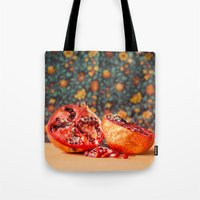 pomegranate Tote Bags featuring Pomegranate by Marie Carr