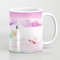 snowboard Mugs featuring Snowboard & Mountain by Julien Kaltnecker