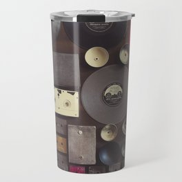 Music. Vintage wall with vinyl records and audio cassettes hung. Travel Mug