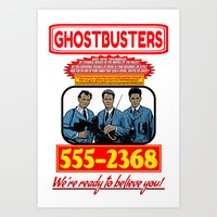 ghostbusters Art Prints featuring Ghostbusters Advertisement by Silvio Ledbetter