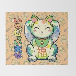 Maneki Neko Lucky Throw Blanket