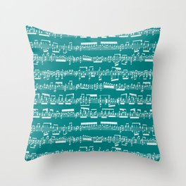 Sheet Music // Teal Throw Pillow