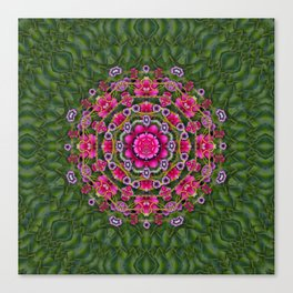 fantasy floral wreath in the green summer  leaves Canvas Print