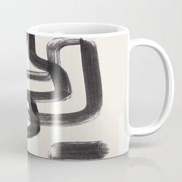 Mid Century Modern Minimalist Abstract Art Brush Strokes Black & White Ink Art Pipe Maze Coffee Mug