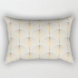 Golden Fan Leaf Art Deco Rectangular Pillow