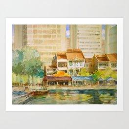 Singapore River watercolor painting id1270367 Art Print