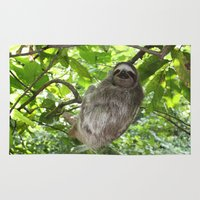 sloths Area & Throw Rugs featuring Sloths in Nature by Amber Galore Design