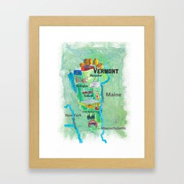 USA Vermont State Travel Poster Map with Touristic Highlights Framed Art Print