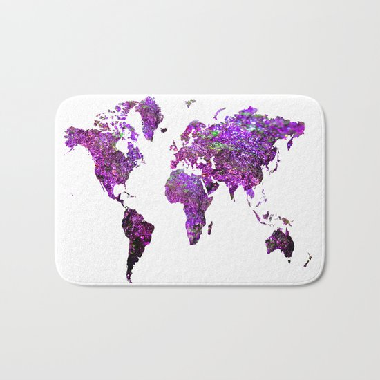 Purple World Map  Bath Mat