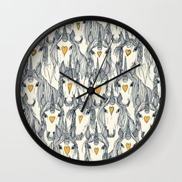 unicorn love indigo citrus pearl Wall Clock