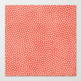 Living Coral Dots Pattern Canvas Print