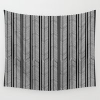 stripe Wall Tapestries featuring Herringbone Stripe by Project M
