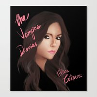 the vampire diaries Canvas Prints featuring Elena Gilbert (The Vampire Diaries) by Ally Hsia