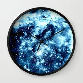 Ice Blue Galaxy Star Clusters Wall Clock
