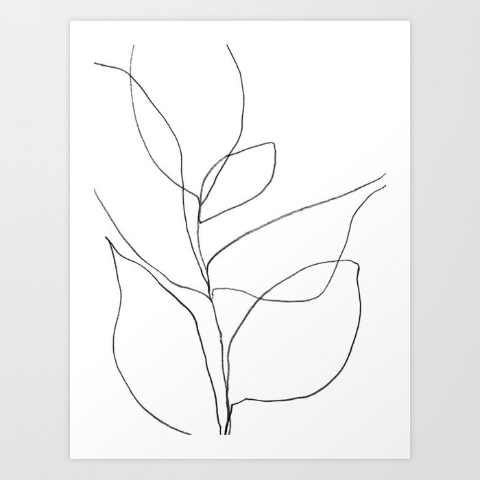 Line Art Poster Design : Minimalist line art plant drawing print by mininst