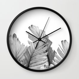 Gray Banana Leaves Dream #1 #tropical #decor #art #society6 Wall Clock