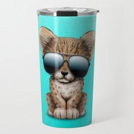 Cute Baby Cheetah Wearing Sunglasses Travel Mug