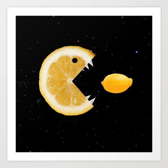 Funny Lemon Eats lemon Art Print