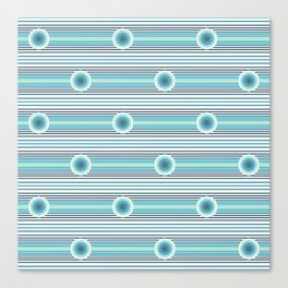 Concentric Circles and Stripes in Teals Canvas Print