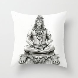 Lord Shiva Painting, Shiva Art, Meditation Shiva Portrait Throw Pillow