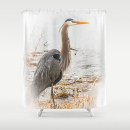 April Blue Heron Shower Curtain