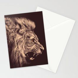 lion pencil art lion roar black and white Stationery Cards