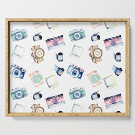 Snappy Watercolor Camera Pattern Serving Tray