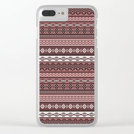 Modern Native Navajo Ethnic Tribal V.02 - Brown Color Clear iPhone Case