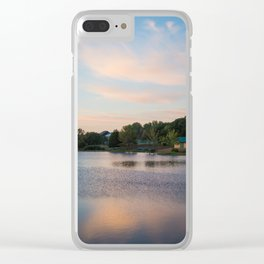 Peaceful Cabin on the Lake During Sunrise Clear iPhone Case