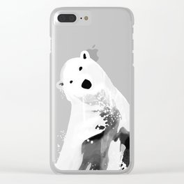 Playful Polar Bear In Turquoise Water Design Clear iPhone Case