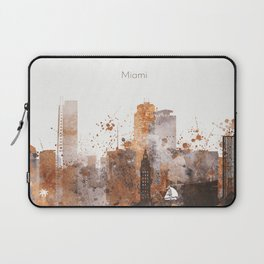 Brown Miami watercolor skyline design Laptop Sleeve