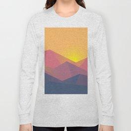 Mountain Sunset Illustration Long Sleeve T-shirt