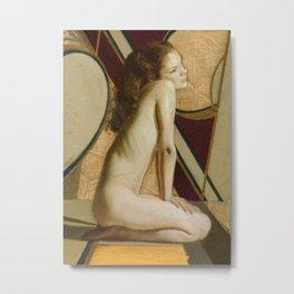 Female Nude Figure Art Nouveau Painting Modern Geometric Minimalist Red Yellow Gray Metal Print