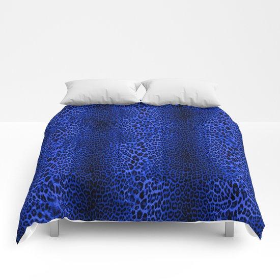 Wild Blue Leopard Comforters