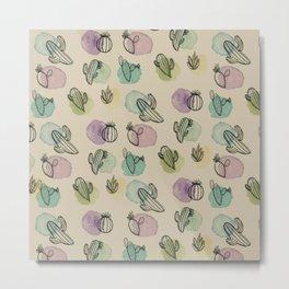 Cacti Watercolor Pattern Metal Print