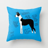 great dane Throw Pillows featuring Great Dane by Lindsay Beth
