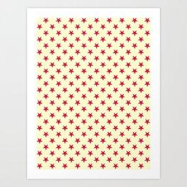 Crimson Red on Cream Yellow Stars Art Print