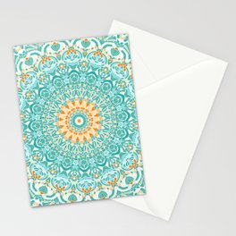 Orange and Turquoise Clarity Mandala Stationery Cards