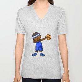 Kids Basketball Boy Dabbing Dab Gift Idea Unisex V-Neck