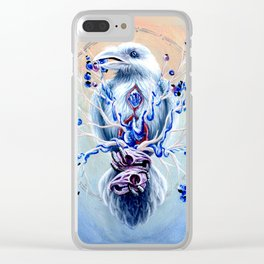 White Raven Bird with Mouse Skulls and Fruit Clear iPhone Case