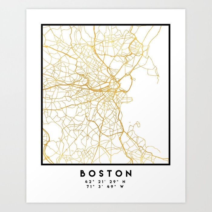 BOSTON MASSACHUSETTS CITY STREET MAP ART Kunstdrucke
