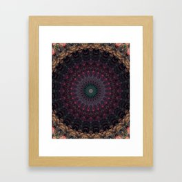 Mandala in dark red and brown tones Framed Art Print