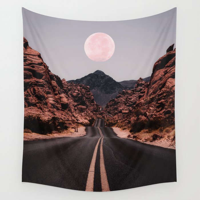 Road Red Moon Wandbehang