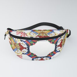 Christmas Mrs. and Mr. Snowman Carolling Poinsettia Pattern Fanny Pack
