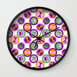 Multi-color Dog Pattern Wall Clock