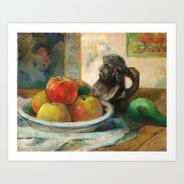 Still Life with Apples, a Pear, and a Ceramic Portrait Jug Art Print