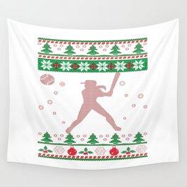 Softball Christmas Wall Tapestry