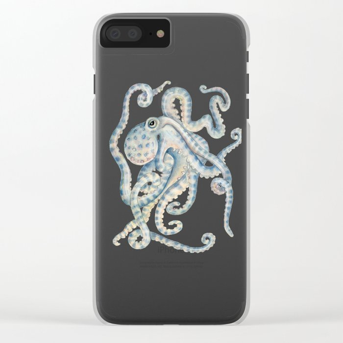 Blue Octopus Clear iPhone Case