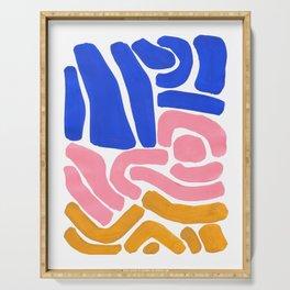 Colorful Minimalist Mid Century Modern Shapes Pink Ultramarine Blue Yellow Ochre Tribal Maze Pattern Serving Tray