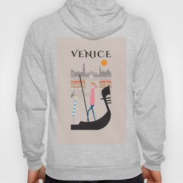 Venice - In the City  - Retro Travel Poster Design Hoody